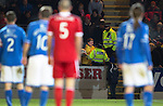 St Johnstone v Aberdeen.....07.12.13    SPFL<br /> An Aberdeen fan is removed from the ground by Police after he refused to give the ball back to siants keeper Alan Mannus.<br /> Picture by Graeme Hart.<br /> Copyright Perthshire Picture Agency<br /> Tel: 01738 623350  Mobile: 07990 594431