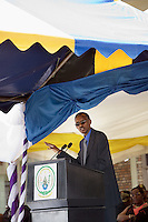 Rwanda. Southern province. Murambi. The rwandese president Paul Kagame during a speech at the 13th commemoration the Genocide.Rwandese flag. The site of Murambi is located in the district of Nyamagabe, in the former Gikongoro prefecture, Nyamagabe commune. The site of Murambi is intented to be a regional research and documentation centre on Genocide. A special memory place where over 50'000 people perished on the site and thrown in mass graves. © 2007 Didier Ruef