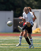 CFC Passion midfielder Jenni Issac (8) clears the ball. In a Women's Premier Soccer League (WPSL) match, Aztec MA defeated CFC Passion, 4-0, at North Reading High School Stadium on July 1, 2012.