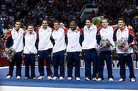 Jake Dalton, Jonathan Horton, Danell Leyva, Sam Mikulak, John Orozco, Chris Brooks, Steven Legendre and Alexander Naddour pose together for group photos after being named to be on USA Men's Gymnastics for London 2012 during 2012 US Olympic Trials Gymnastics Finals at HP Pavilion in San Jose, California on July 1st, 2012.