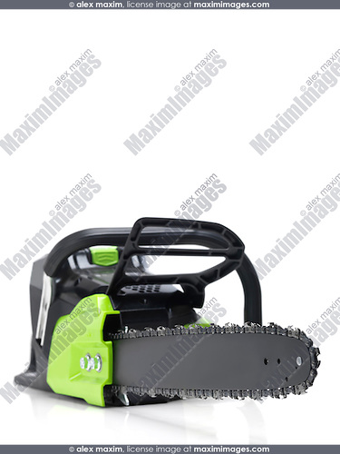 Electric Cordless battery powered chainsaw isolated on white background