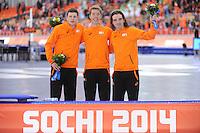 OLYMPICS: SOCHI: Adler Arena, 18-02-2014, Men's 10.000m, podium, Sven Kramer (NED), Jorrit Bergsma (NED), Bob de Jong (NED), ©photo Martin de Jong