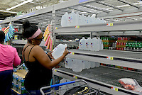MIRAMAR, FL - OCTOBER 06: view of the water shelve inside Walmart in Miramar, Florida in preparation for the landfall of Hurricane Matthew on October 6, 2016 in Miramar, Florida. The hurricane is expected to make landfall sometime this evening or early in the morning as a possible category 4 storm.Credit: MPI10 / MediaPunch