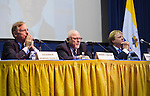 April 19, 2012 - Hempstead, New York, U.S. - Governor HOWARD DEAN III (left), EDWARD ROLLINS (center), and Lord SSTEWART WOOD of Anfield (right) are panelists at ?Change in the White House? symposium at Hofstra University, Long Island. Gov. Howard B. Dean is a former Democratic National Committee Chairman, presidential candidate, six term Governor of Vermont, and physician. Edward J.  Rollins managed Pres. Reagan's reelection campaign in 1984, and had major managerial roles in nine other Presidential campaigns. Lord Stewart Wood, a British academic and Labour life peer in the House of Lords, served as Senior Policy Advisor to Prime Minister Brown and campaign manager for the successful campaign of Ed Milliband to Labour Party Leader.