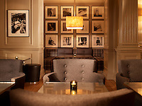 The panelled walls of Brown's Hotel in London are lined with a series of contempororay black and white photographs