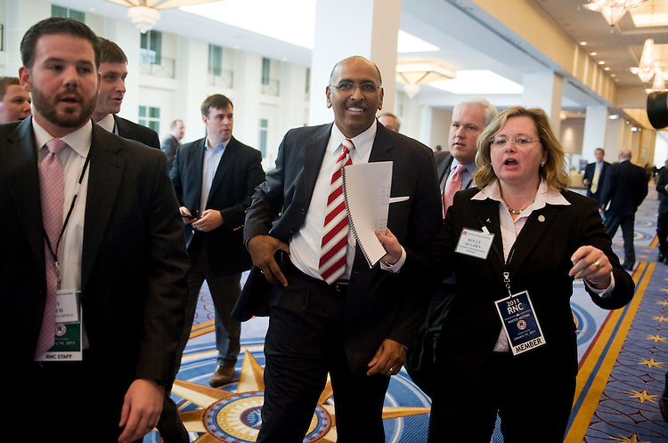 UNITED STATES - JANUARY 14:  Michael Steele, Republican National Committee (RNC) chairman, makes his way back into the RNC's 2011 Winter Meeting held at the Gaylord National Resort & Convention Center in National Harbor, MD.  The general session took place in the morning and the election for RNC chairman took place in the afternoon.   (Photo By Tom Williams/Roll Call)