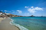 Sandy beach on Mykonos Island in Greece