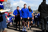 Francois Louw and the rest of the Bath Rugby team make their way through a tunnel of supporters. Aviva Premiership match, between Bath Rugby and London Irish on March 5, 2016 at the Recreation Ground in Bath, England. Photo by: Patrick Khachfe / Onside Images