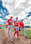 13 March 2016: St. Louis Cardinals starting pitcher Michael Wacha (left) walks from the bullpen to the dugout along with catcher Carson Kelly and pitching coach Derek Lilliquist prior to the start of a pre-season Spring Training game against the Washington Nationals at Space Coast Stadium in Viera, Florida. The teams played to a 4-4 draw in Grapefruit League play. Mandatory Credit: Ed Wolfstein Photo *** RAW (NEF) Image File Available ***