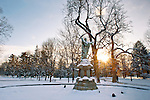 1.22.13 Jesus Statue Snow Sunset.JPG by Matt Cashore/University of Notre Dame