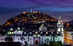 The statue of the Virgin Mary sits atop the El Panecillo hill overlooking the Old Town or Centro Historico of Quito, Ecuador. The historic center of Quito was declared a UNESCO World Cultural Heritage Site in 1978 because it is one of the largest, least-altered and best preserved historic centers in the Americas.  In the foreground is the Metropolitan Cathedral of Quito known simply as la Catedral.   It was elevated to the Cathedral of Ecuador in 1995, making it the seniormost Catholic church in the country.