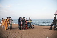 Indian tourists at the beach of Pondicherry. Arindam Mukherjee
