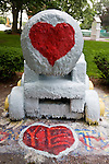 Medford/Somerville, MA 7/1/08 -- The cannon painted with hearts to celebrate the marriage of Tufts alumni, Jeff and Liz, on Tuesday July 1, 2008.