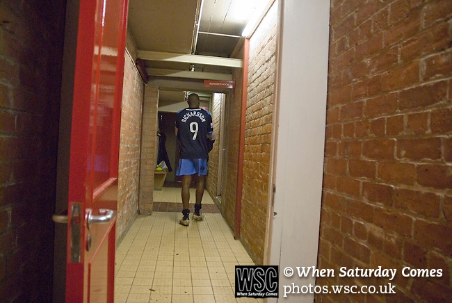 York City 1 Cambridge United 2, 10/10/2006. Bootham Crescent, Football Conference. A Cambridge player on his way to the referees room after the game. Photo by Paul Thompson.