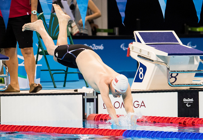 Danial Murphy competes in the men's 200m freestyle S5 classification heats at the Olympic Aquatics Stadium during the Paralympic Games in Rio de Janeiro, Brazil, on September 8, 2016.