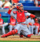 7 March 2012: St. Louis Cardinals catcher Bryan Anderson in action against the Washington Nationals at Space Coast Stadium in Viera, Florida. The teams battled to a 3-3 tie in Grapefruit League Spring Training action. Mandatory Credit: Ed Wolfstein Photo