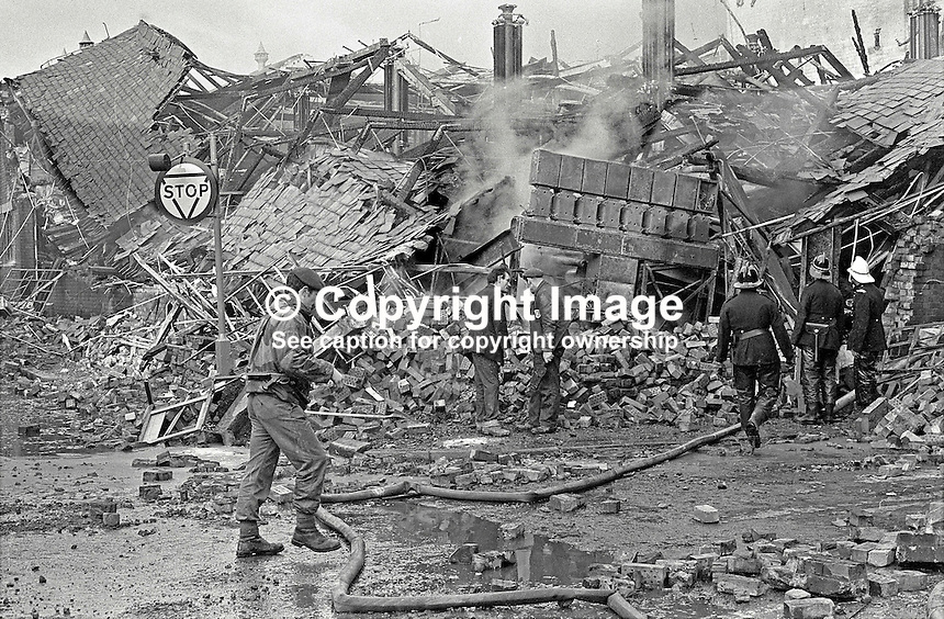 Scene of IRA explosion at W &amp; G Baird Ltd, commercial printers, Belfast, N Ireland. Taken 13th November 1971. 432/71, 197111130432. <br />