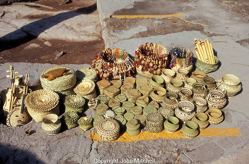Pine needle baskets and other Tarahumara Indian handicrafts for sale at the Divisidero lookout, Copper Canyon, Chihuahua, Mexico