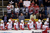 Team Detroit Red Wings and in background fans with sign during ice-hockey match between Los Angeles Kings and Detroit Red Wings in NHL league, February 28, 2011 at Staples Center, Los Angeles, USA. (Photo By Matic Klansek Velej / Sportida.com)