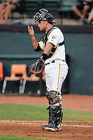 Catcher Daniel Arribas (23) of the Bristol Pirates in a game against the Greeneville Astros on Saturday, July 26, 2014, at DeVault Memorial Stadium in Bristol, Virginia. Greeneville won, 2-1 in Game 1 of a doubleheader. (Tom Priddy/Four Seam Images)