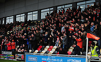 Blackpool fans celebrate their sides first goal<br /> <br /> Photographer Kevin Barnes/CameraSport<br /> <br /> The EFL Sky Bet League Two - Saturday 18th March 2017 - Newport County v Blackpool - Rodney Parade - Newport<br /> <br /> World Copyright &copy; 2017 CameraSport. All rights reserved. 43 Linden Ave. Countesthorpe. Leicester. England. LE8 5PG - Tel: +44 (0) 116 277 4147 - admin@camerasport.com - www.camerasport.com