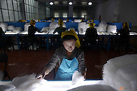 Women work at the Kim Jong Suk Pyongyang textile mill during a government organised visit for foreign reporters in Pyongyang, North Korea May 9, 2016.  REUTERS/Damir Sagolj