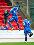 St Johnstone v Hibs...02.10.10  .Marcus Haber celebrates his goal.Picture by Graeme Hart..Copyright Perthshire Picture Agency.Tel: 01738 623350  Mobile: 07990 594431