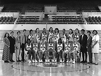 1994: Women's Basketball Team. Standing (left to right): Mgr. Angie Nakano, Trainer Kris Mack, Head Coach Tara VanDerveer, Assoc. Coach Amy Tucker, Rachel Hemmer, Heather Owen, Naomi Mulitauaopele, Chandra Benton, Anita Kaplan, Olympia Scott, Kristin Folkl, Kate Starbird, Asst. Coach Carolyn Jenkins, Asst. Coach Julie Plank, Mgr. Erica Sanders. Sitting (left to right): Bobbie Kelsey, Tara Harrington, Jamila Wideman, Kate Paye, Charmin Smith, Regan Freuen, Vanessa Nygaard.