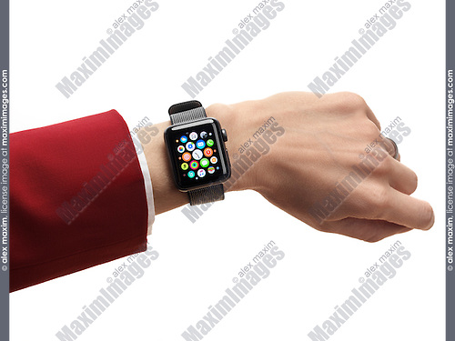 Woman hand with Apple Watch series 2 smartwatch on her wrist displaying app icons isolated on white background
