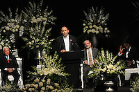 The Islamic advisor to the Muhammad Ali family speaks at the memorial service for boxing legend Muhammad Ali at the KFC Yum! Center in Louisville, Kentucky on June 10, 2016.  Ali was involved in the planning of the ceremony which included speeches from leaders of numerous faith as well as comedian Billy Crystal and former American President Bill Clinton.