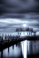 High contrast black and white imageof Roanoke Marshes Lighthouse in Manteo on the Outer Banks.