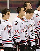 Brodie Reid (Northeastern - 15), Drew Daniels (Northeastern - 24), Steve Silva (Northeastern - 17), Anthony Bitetto (Northeastern - 7) - The visiting Niagara University Purple Eagles defeated the Northeastern University Huskies 4-1 on Friday, November 5, 2010, at Matthews Arena in Boston, Massachusetts.