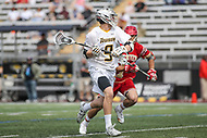 Towson, MD - March 25, 2017: Towson Tigers Jon Mazza (9) passes the ball during game between Towson and Denver at  Minnegan Field at Johnny Unitas Stadium  in Towson, MD. March 25, 2017.  (Photo by Elliott Brown/Media Images International)