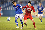 07 December 2012: Creighton's Christian Blandon (20) and Indiana's Matt McKain (5). The Creighton University Bluejays played the Indiana University Hoosiers at Regions Park Stadium in Hoover, Alabama in a 2012 NCAA Division I Men's Soccer College Cup semifinal game. Indiana won the game 1-0.
