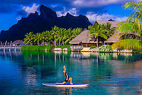 French Polynesia-Bora Bora-Four Seasons Resort-Standup Paddleboard Yoga
