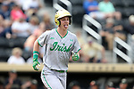 WAKE FOREST, NC - APRIL 15: Notre Dame's Nick Podkul trots down to first base after getting hit by a pitch in the first inning. The Wake Forest Demon Deacons hosted the University of Notre Dame Fighting Irish on April 15, 2017, at David F. Couch Ballpark in Wake Forest, NC in a Division I College Baseball game. Wake Forest won the game 13-7.