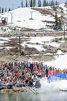 """Cushing Classic at Squaw Valley 4"" - Photograph of a skier crossing a pond during the Cushing Classic at Squaw Valley, USA."