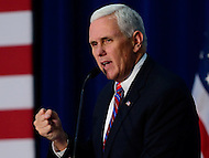 York , PA - September 29, 2016: Republican vice presidential candidate Gov. Mike Pence (R-IN) speaks to supporters during a campaign event at the Penn Waste facility in York, PA, September 29, 2016.   (Photo by Don Baxter/Media Images International)