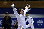 DURHAM, NC - FEBRUARY 26: Notre Dame's Ariel Simmons reacts after winning his semifinal Men's Epee contest. The Atlantic Coast Conference Fencing Championships were held on February, 26, 2017, at Cameron Indoor Stadium in Durham, NC.