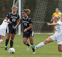 Easton, Massachusetts - October 25, 2014: NCAA Division II. After overtime, Stonehill College (white) tied College of St Rose (black), 1-1, on Skyhawk Field, at Stonehill College.