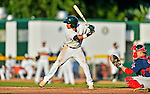 30 June 2012: Vermont Lake Monsters outfielder Austin Booker in action against the Lowell Spinners at Centennial Field in Burlington, Vermont. Mandatory Credit: Ed Wolfstein Photo