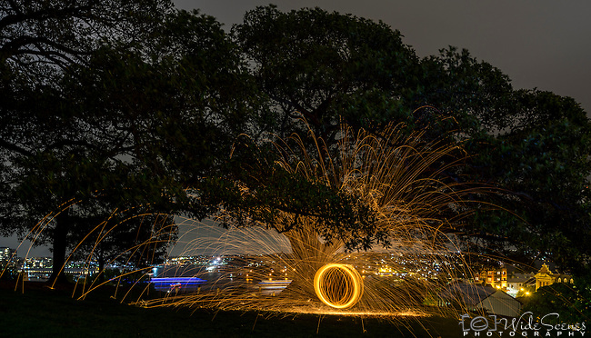 Spinning Fire at Observatory Hill, Sydney, NSW, Australia