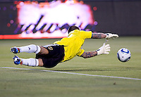 Real Salt Lake goalkeeper Nick Rimando (18) makes a diving save. Real Salt Lake defeated CD Chivas USA 2-1at Home Depot Center stadium in Carson, California on Saturday May 22, 2010.  .