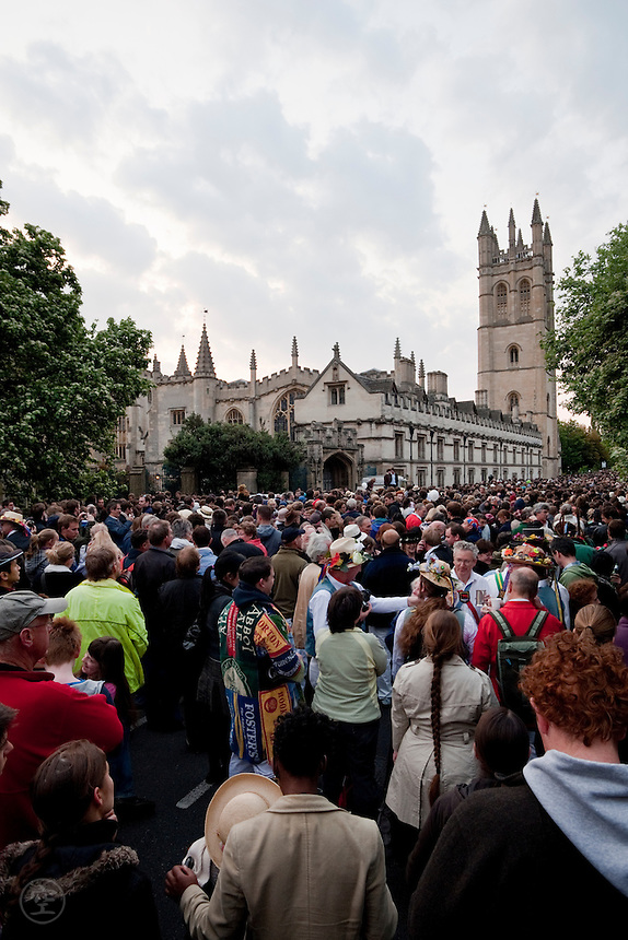Crowds gather before dawn to hear the choir sing from Magdalen Tower, Oxford.