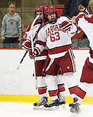 Conor Morrison (Harvard - 38) and Colin Blackwell (Harvard - 63) celebrate Blackwell's shorthanded goal which tied the game at 1. - The Harvard University Crimson defeated the visiting Brown University Bears 3-2 on Friday, November 2, 2012, at the Bright Hockey Center in Boston, Massachusetts.