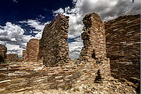 Ruined stone walls of the Great House at Pueblo Pintado, an outlier of Chaco Canyon.