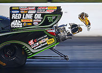 Jun 4, 2016; Epping , NH, USA; Detailed view as the spring loaded pilot chutes deploy to pull out the twin parachutes on the car of NHRA funny car driver Alexis DeJoria during qualifying for the New England Nationals at New England Dragway. Mandatory Credit: Mark J. Rebilas-USA TODAY Sports