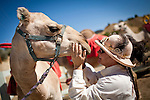 Mary Bond, of Klamath Falls, Oregon, greets a camel at the 51st annual International Camel Races in Virginia City, Nevada  September 12, 2010. .CREDIT: Max Whittaker for The Wall Street Journal.CAMEL