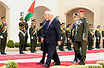 Palestinian President Mahmoud Abbas gestures as he welcomes Italy's President Sergio Mattarella during a welcoming ceremony in the West Bank city of Bethlehem November 1, 2016. Photo by Wisam Hashlamoun