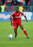 01 July 2010:  Toronto FC defender Nana Attakora #3 in action during a game between the Houston Dynamo and the Toronto FC at BMO Field in Toronto..Final score was 1-1....